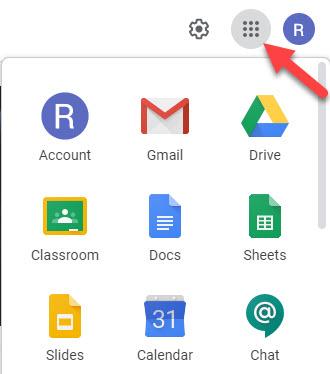 Google App menu