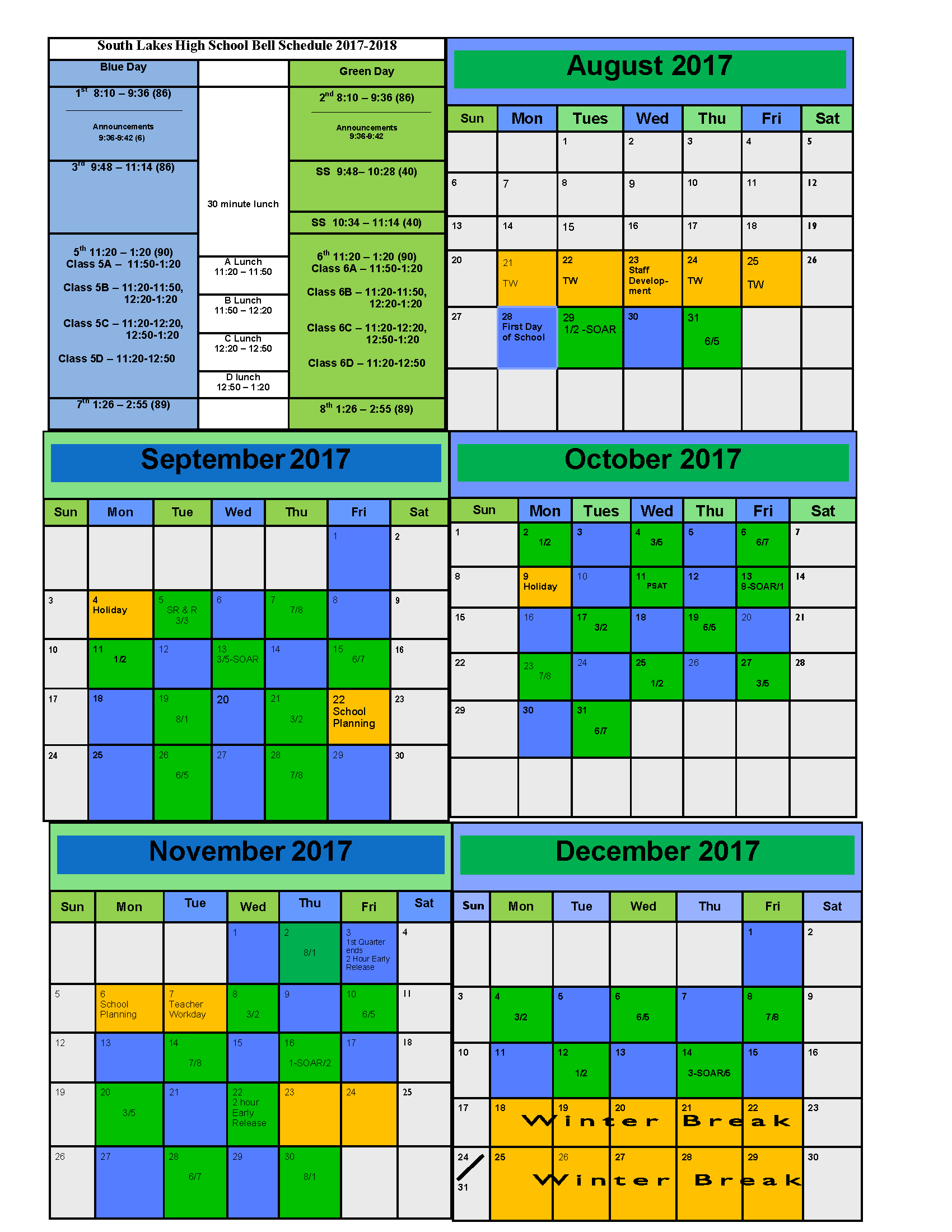 Calendar Green : Blue green calendar south lakes high school